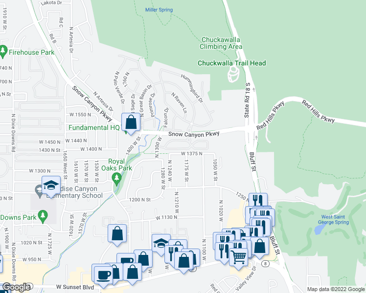 map of restaurants, bars, coffee shops, grocery stores, and more near 1173 West Snow Canyon Parkway in St. George