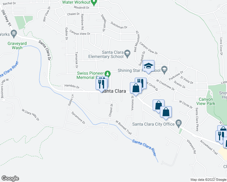 map of restaurants, bars, coffee shops, grocery stores, and more near in Santa Clara