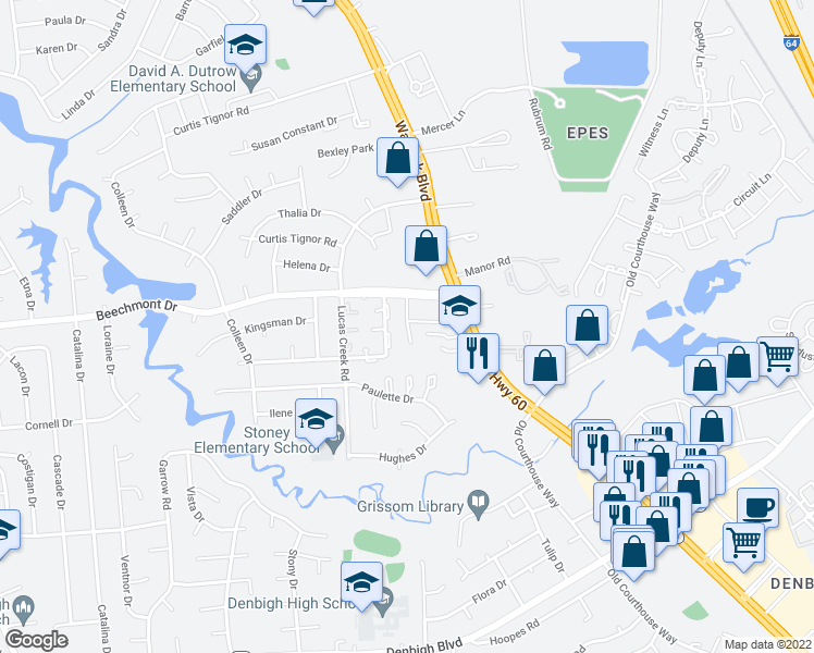 map of restaurants, bars, coffee shops, grocery stores, and more near 360 Roseman Court in Newport News