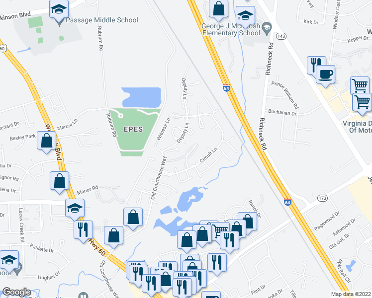 map of restaurants, bars, coffee shops, grocery stores, and more near 395 Deputy Lane in Newport News