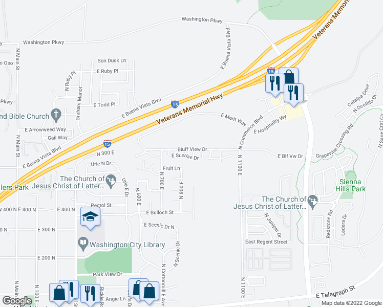 map of restaurants, bars, coffee shops, grocery stores, and more near 1000 Bluff View Drive in Washington