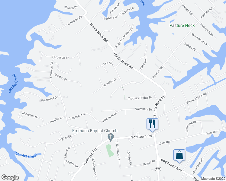 map of restaurants, bars, coffee shops, grocery stores, and more near 34 Wornom Farm Road in Poquoson