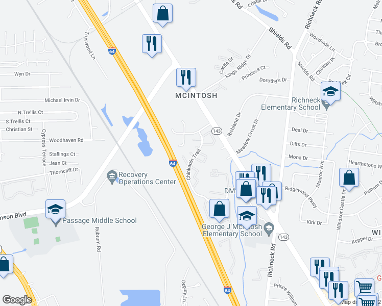 map of restaurants, bars, coffee shops, grocery stores, and more near 581 Calla Court in Newport News