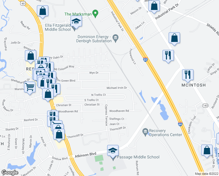 map of restaurants, bars, coffee shops, grocery stores, and more near Michael Irvin Drive in Newport News
