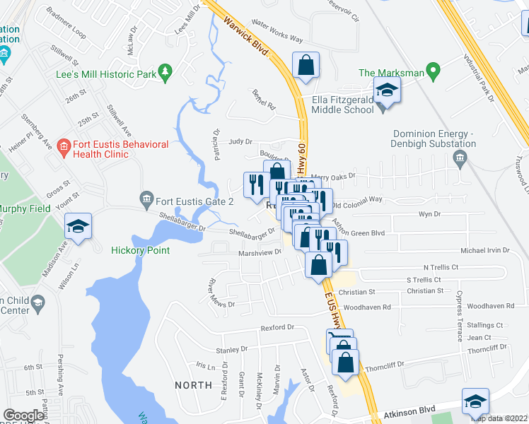 map of restaurants, bars, coffee shops, grocery stores, and more near 124 Ashton Green Boulevard in Newport News