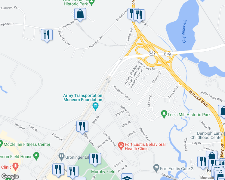 map of restaurants, bars, coffee shops, grocery stores, and more near 105 Ripon Way in Newport News
