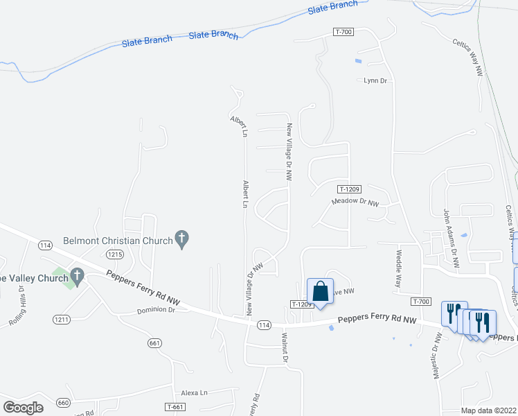 map of restaurants, bars, coffee shops, grocery stores, and more near 220 Sequoia Circle Northwest in Christiansburg
