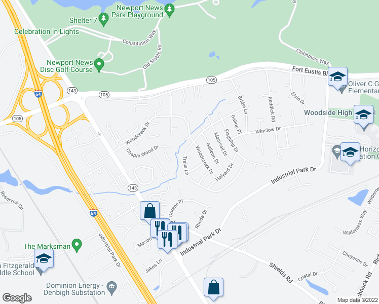 map of restaurants, bars, coffee shops, grocery stores, and more near 724 Trails Lane in Newport News