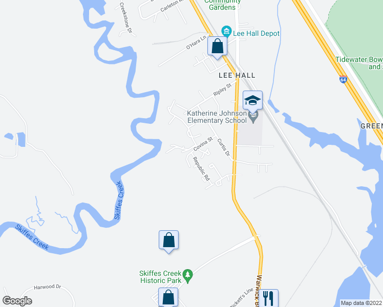 map of restaurants, bars, coffee shops, grocery stores, and more near 127 Inland View Drive in Newport News