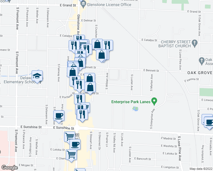 map of restaurants, bars, coffee shops, grocery stores, and more near 1515 South Wildan Avenue in Springfield