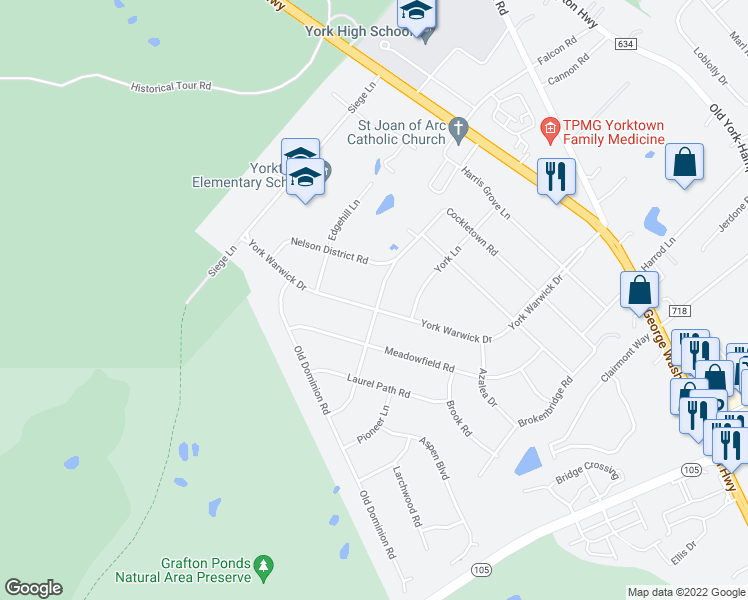 map of restaurants, bars, coffee shops, grocery stores, and more near 700 York Warwick Drive in Yorktown