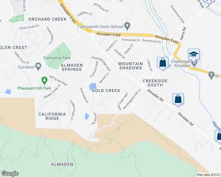 map of restaurants, bars, coffee shops, grocery stores, and more near 1129 Grimley Lane in San Jose