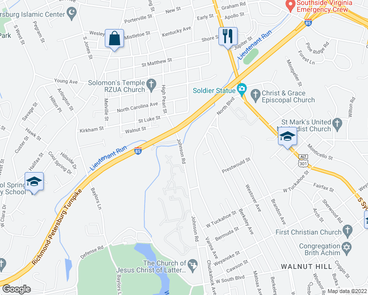 map of restaurants, bars, coffee shops, grocery stores, and more near Johnson Road in Petersburg