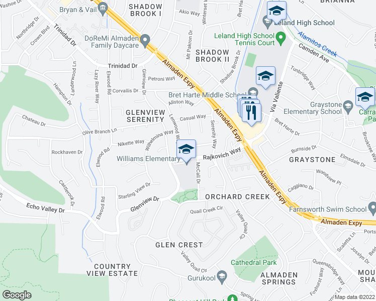 map of restaurants, bars, coffee shops, grocery stores, and more near 6941 Lenwood Way in San Jose