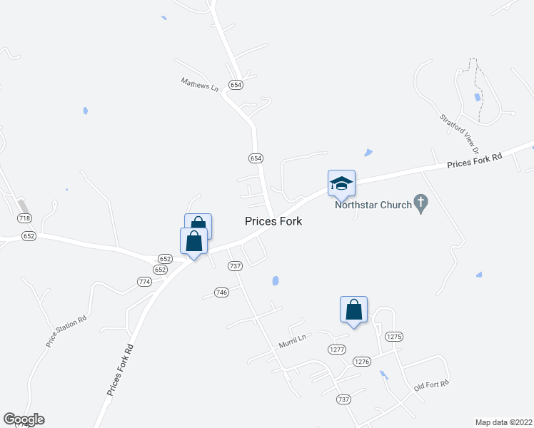 map of restaurants, bars, coffee shops, grocery stores, and more near 1615 Brooksfield Road in Blacksburg