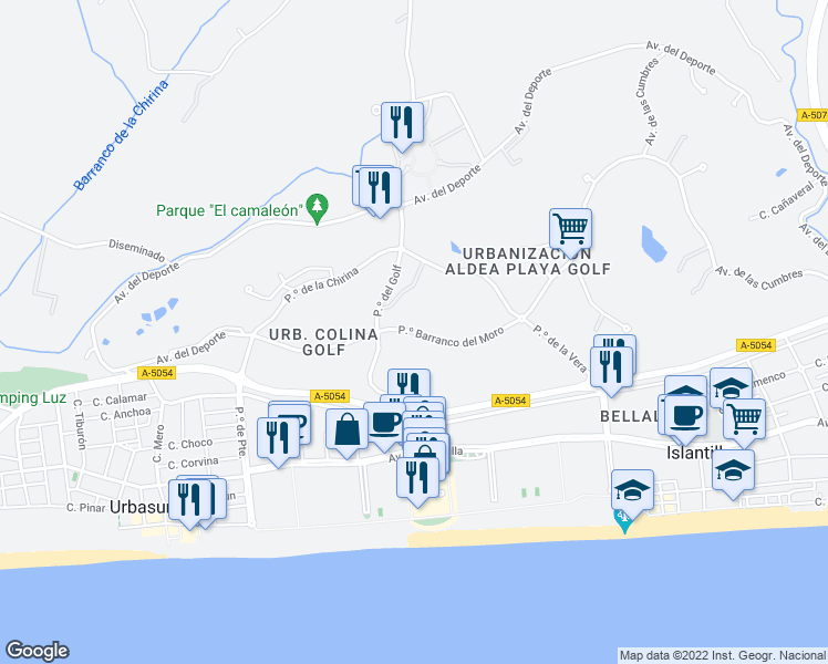 map of restaurants, bars, coffee shops, grocery stores, and more near 6 Paseo Barranco del Moro in Isla Cristina