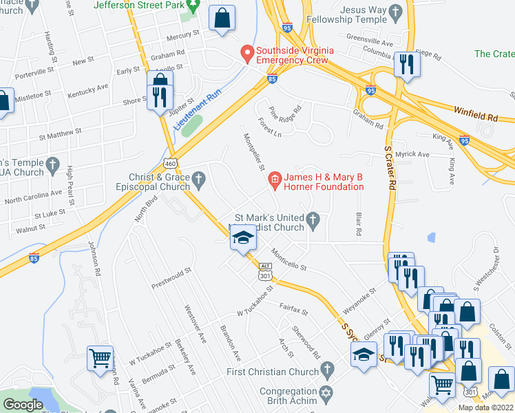 map of restaurants, bars, coffee shops, grocery stores, and more near 1620 Mount Vernon Street in Petersburg