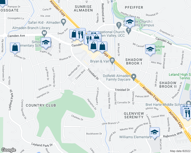 map of restaurants, bars, coffee shops, grocery stores, and more near Trinidad Drive in San Jose