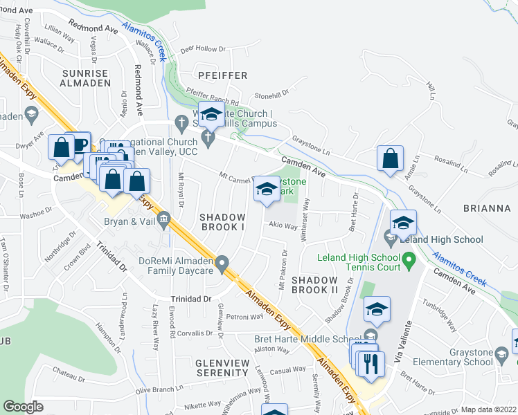 map of restaurants, bars, coffee shops, grocery stores, and more near 6870 Trinidad Drive in San Jose
