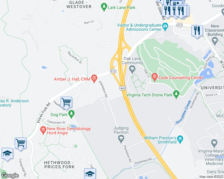 map of restaurants, bars, coffee shops, grocery stores, and more near 870 Plantation Road in Blacksburg