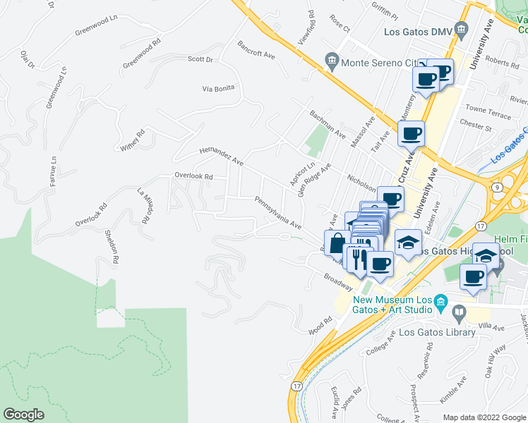 map of restaurants, bars, coffee shops, grocery stores, and more near 327 Pennsylvania Avenue in Los Gatos