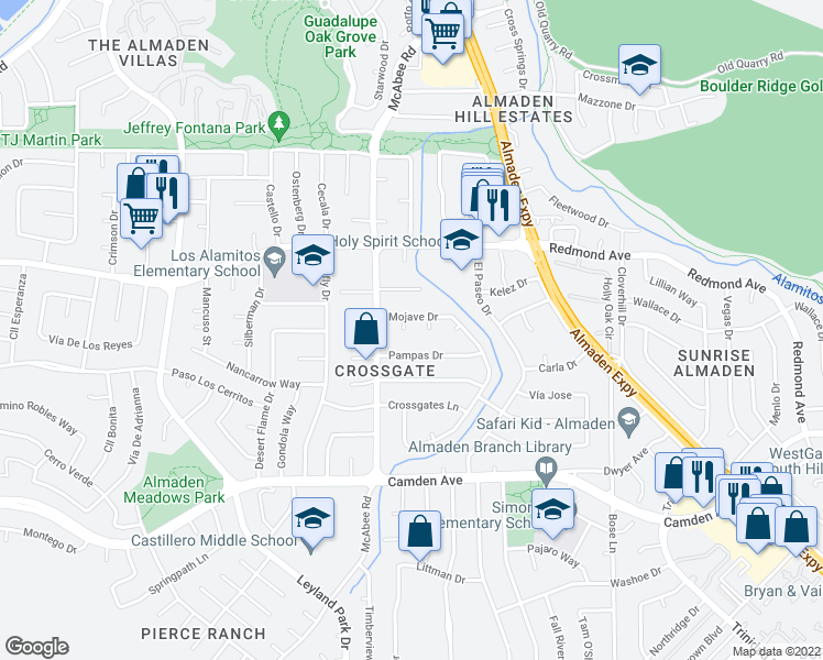 map of restaurants, bars, coffee shops, grocery stores, and more near 6247 Mojave Drive in San Jose