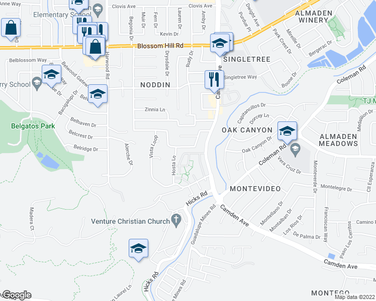 map of restaurants, bars, coffee shops, grocery stores, and more near 1638 Hyacinth Lane in San Jose