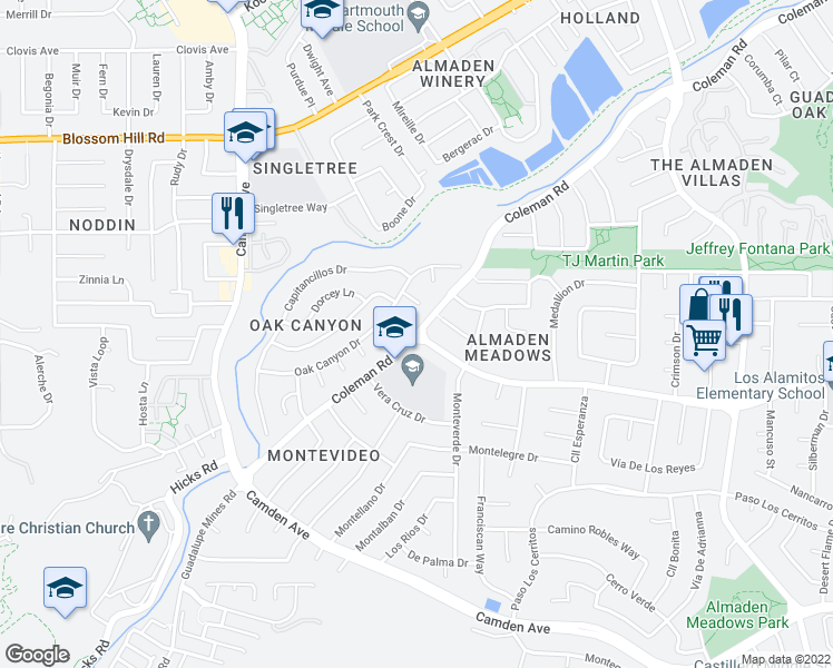 map of restaurants, bars, coffee shops, grocery stores, and more near Coleman Road & Redmond Avenue in San Jose