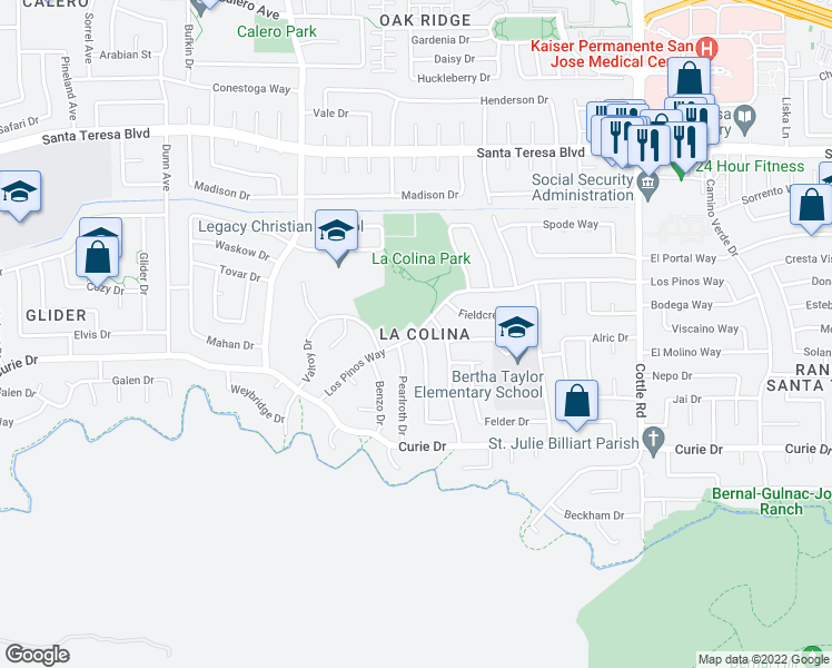 map of restaurants, bars, coffee shops, grocery stores, and more near Los Pinos Way & Mountford Dr in San Jose