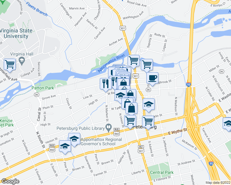 map of restaurants, bars, coffee shops, grocery stores, and more near West Bank Street in Petersburg