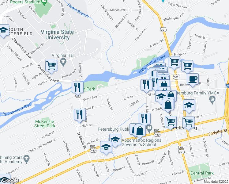 map of restaurants, bars, coffee shops, grocery stores, and more near Grove Avenue in Petersburg