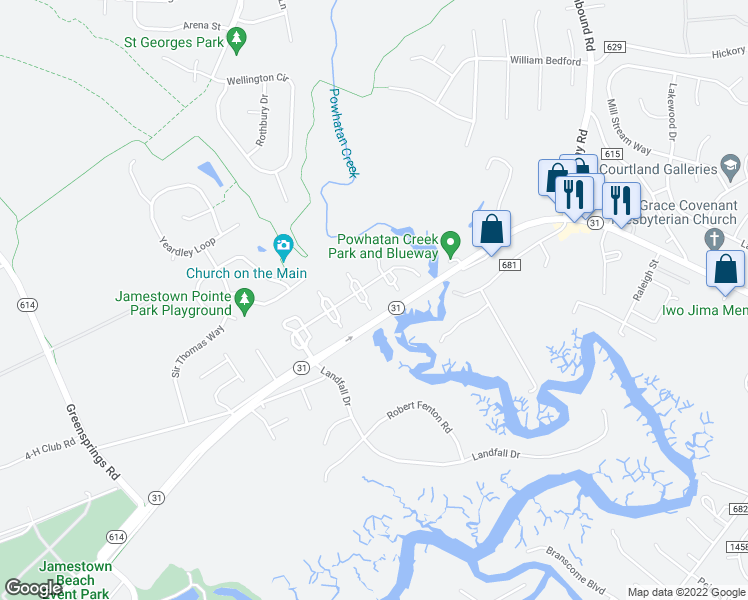 map of restaurants, bars, coffee shops, grocery stores, and more near 2702 London Company Way in Williamsburg