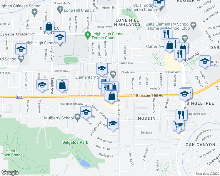 map of restaurants, bars, coffee shops, grocery stores, and more near 5501-5599 Thureson Way in San Jose
