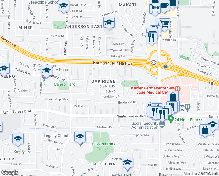 map of restaurants, bars, coffee shops, grocery stores, and more near 346 Gardenia Drive in San Jose