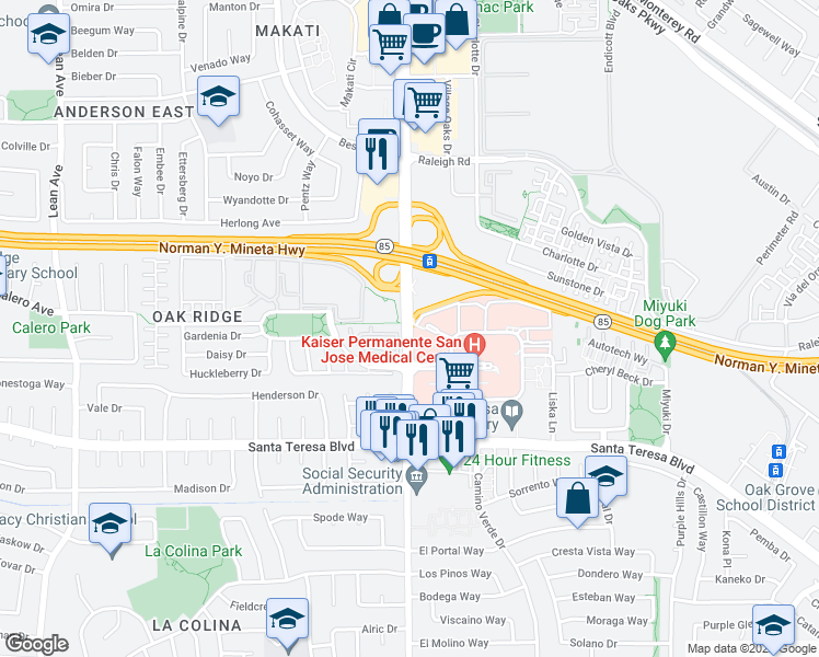 map of restaurants, bars, coffee shops, grocery stores, and more near Cottle Road in San Jose