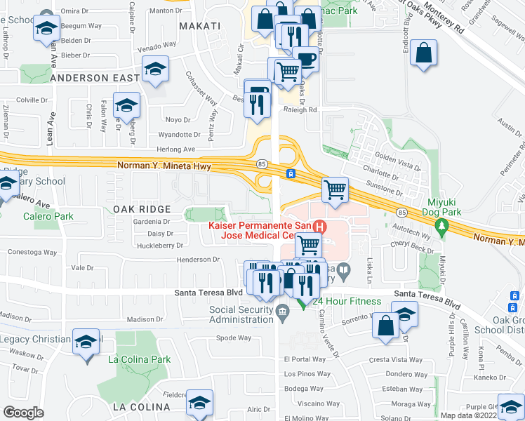 map of restaurants, bars, coffee shops, grocery stores, and more near 100 Palm Valley Boulevard in San Jose