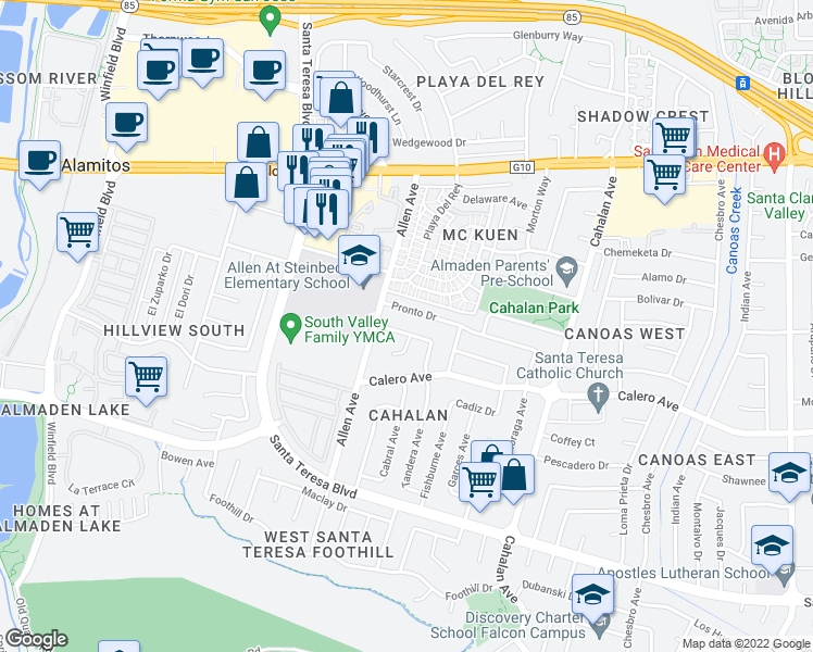 map of restaurants, bars, coffee shops, grocery stores, and more near 769 Terrazzo Drive in San Jose