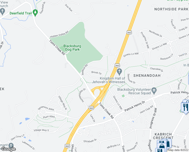 map of restaurants, bars, coffee shops, grocery stores, and more near 1116 Brook Circle in Blacksburg