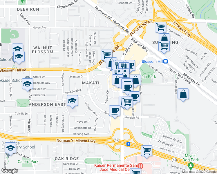 map of restaurants, bars, coffee shops, grocery stores, and more near 5196 Makati Circle in San Jose