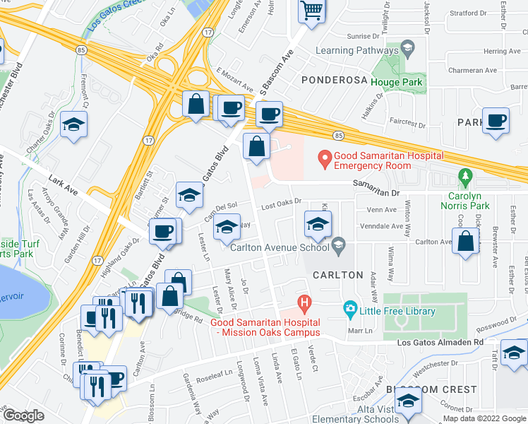 map of restaurants, bars, coffee shops, grocery stores, and more near 2520 Lost Oaks Drive in San Jose
