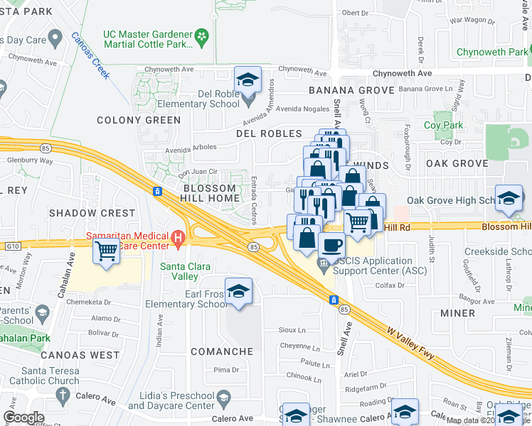 map of restaurants, bars, coffee shops, grocery stores, and more near 5577 Cedar Garden Court in San Jose