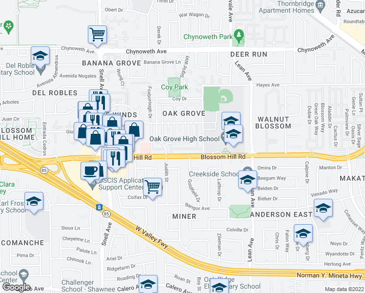 map of restaurants, bars, coffee shops, grocery stores, and more near 5560 Spinnaker Drive in San Jose