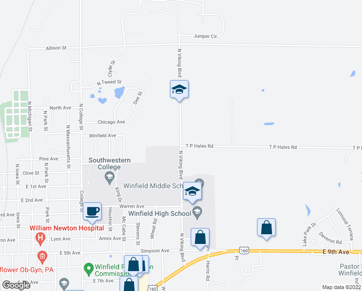 map of restaurants, bars, coffee shops, grocery stores, and more near 2208 T P Hales Road in Winfield