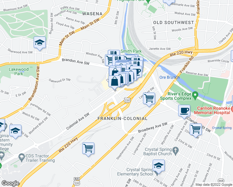 map of restaurants, bars, coffee shops, grocery stores, and more near 2308 Colonial Ave SW in Roanoke
