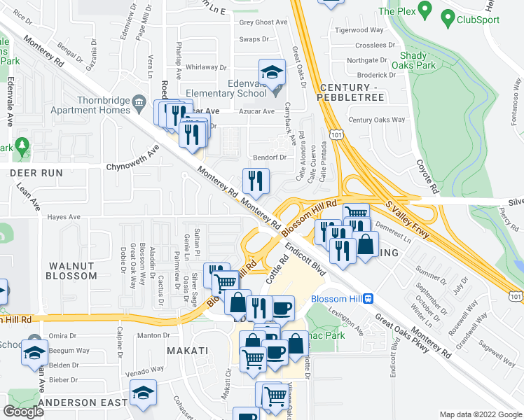 map of restaurants, bars, coffee shops, grocery stores, and more near Monterey Road in San Jose