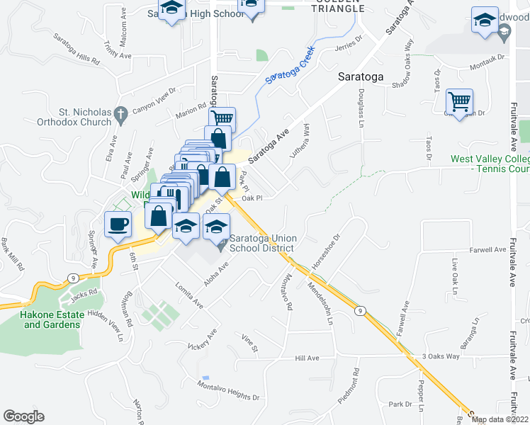 map of restaurants, bars, coffee shops, grocery stores, and more near 14480 Oak Place in Saratoga