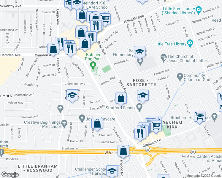 map of restaurants, bars, coffee shops, grocery stores, and more near 4086 Jan Way in San Jose