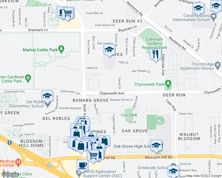 map of restaurants, bars, coffee shops, grocery stores, and more near 5183 Poston Drive in San Jose