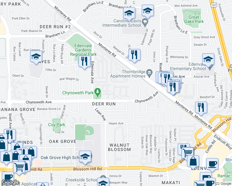 map of restaurants, bars, coffee shops, grocery stores, and more near 5258 Mill Creek Lane in San Jose