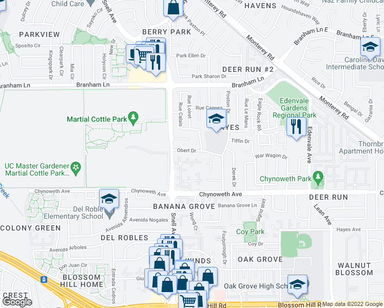 map of restaurants, bars, coffee shops, grocery stores, and more near 178 Obert Dr in San Jose